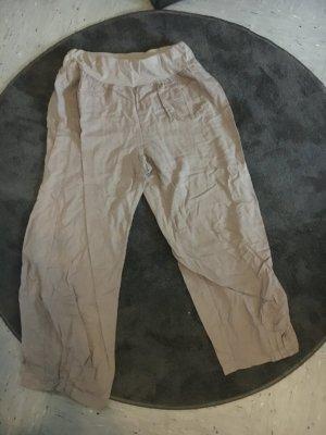 Lniane spodnie beżowy-kremowy