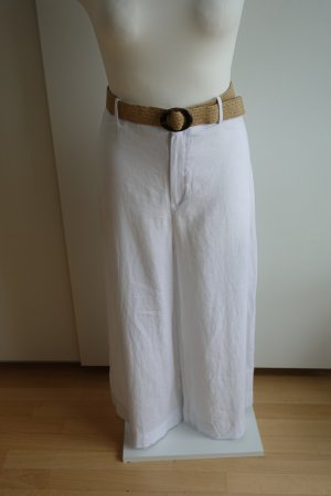 Mango Pantalon en lin blanc-chameau