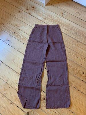 Pantalón de lino marrón-marrón claro