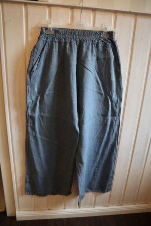 Leinen Hose Pluderhose Jeansblau gerades weites Bein