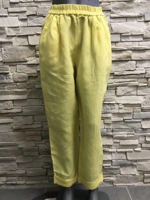 Hopsack Pantalone di lino giallo