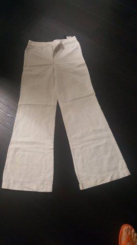 Marc Cain Pantalone Marlene bianco-grigio chiaro Lino
