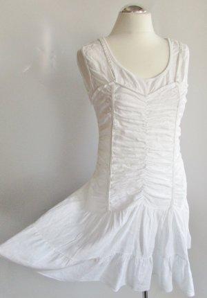 Leinen Kleid Weiß Les Freres Größe L 40 42 Raffung Rüschen Brautkleid Boho Festival Stufenrock Sommerkleid Godets