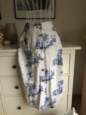 Mango Falda de lino blanco-azul oscuro