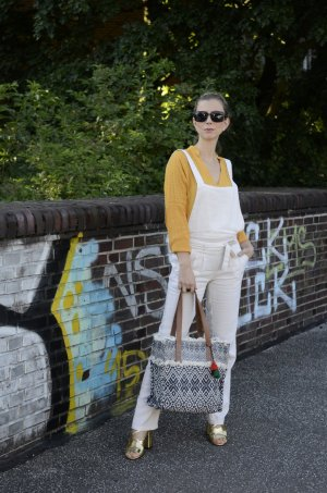 Promod Dungarees cream mixture fibre