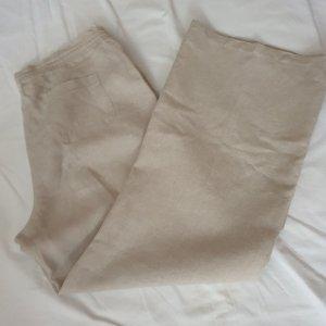 Pantalon en lin beige clair-beige