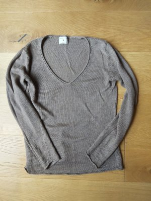 Donna Lane V-Neck Sweater light brown linen