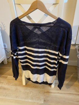 Leinen Pullover Oberteil Streifen Marine