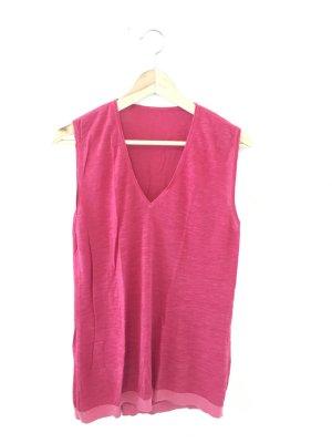 Leinen Pullunder leichtstrick Strick Sommer pink Fuchsia ärmellos top Deep v Oberteil Shirt Pullover