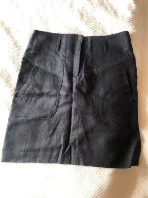 Massimo Dutti Lniana spódnica ciemnoniebieski