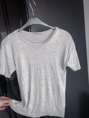Leinen T-Shirt, Zara, helles grau
