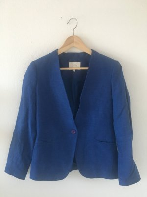 Leinen Viskose Polyamid Acetat 36 Koton Jacke Marke Blazer  blau royalblau leuchtend Farbe zeitlos Sommer cool bequem
