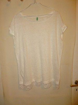 Leinen-/Viskose-Shirt mit Spitzenborte