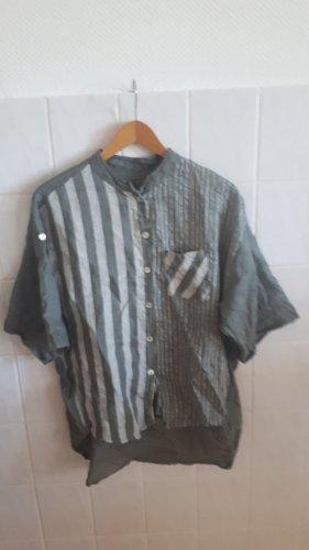 Unbekannte Marke Linnen blouse groen-grijs