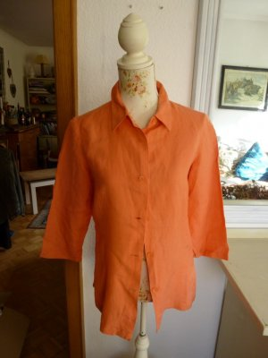 Leinenbluse 3/4 Arm Orange Gr. M