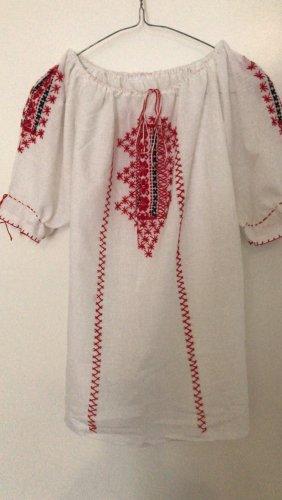 0039 Italy Blusa-camisa blanco-rojo oscuro
