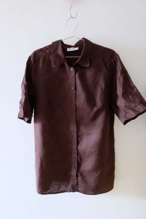 Ulla Popken Linen Blouse dark brown linen
