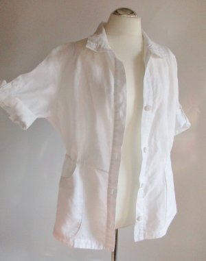 Leinenbluse Blusenjacke Gerry Weber Edition Größe L 42 Weiß Kurzarm Bluse Jacke Leinen Oversize Hemd Lagenlook