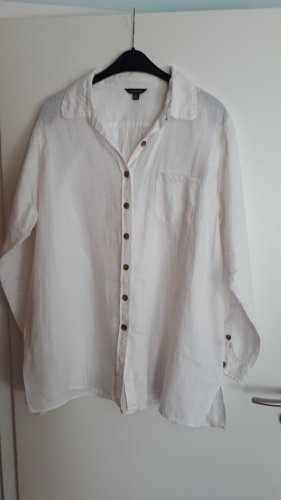 Lands' End Blusa in lino bianco