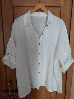 Made in Italy Lniana bluzka biały Len