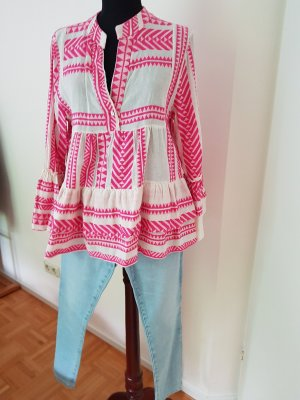 Made in Italy Lniana bluzka biały-różowy