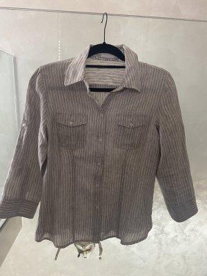 Marco Pecci Lniana bluzka beżowy-w kolorze białej wełny