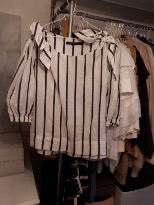 Zara Woman Linen Blouse white-anthracite linen