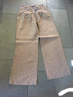 H&M Spodnie Marlena brązowy Len
