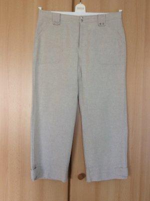 Mac Lniane spodnie w kolorze białej wełny-kremowy