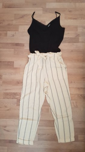H&M Lniane spodnie kremowy-niebieski