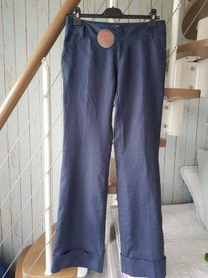Bershka Pantalón de lino azul oscuro