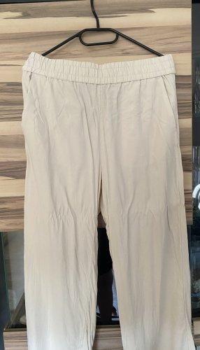 H&M Pantalon en lin crème-blanc