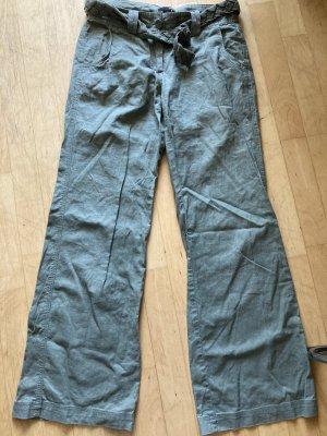 H&M Pantalon en lin gris vert-kaki