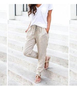 Miss Moda Pantalon en lin crème