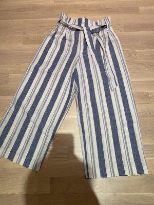 Pull & Bear Falda pantalón de pernera ancha blanco-azul celeste
