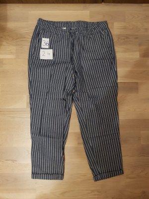 Lniane spodnie biały-szary niebieski