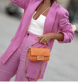 Zara Lniane spodnie różowy