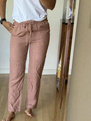 Mango Linen Pants rose-gold-coloured