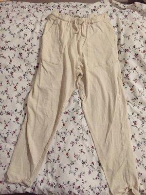 Pull & Bear Pantalón de lino beige claro