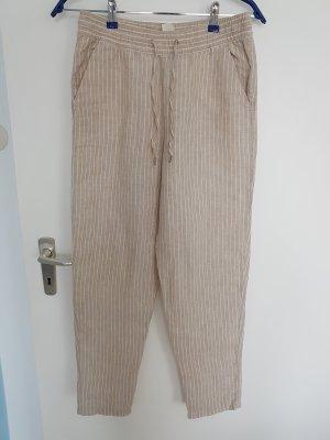 H&M Pantalon en lin blanc-beige