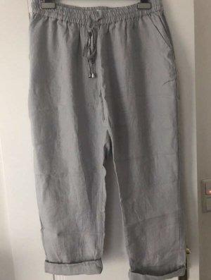 Open End Pantalon en lin gris clair lin