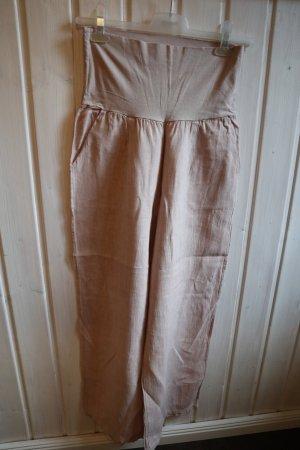 Leinenhose gerades Bein und Umschlagbund Altrosa Rosa