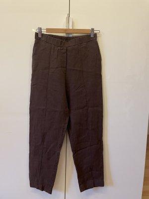 Pantalon en lin brun-brun foncé