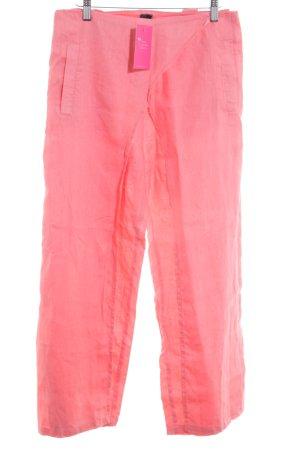 Lniane spodnie różowy neonowy W stylu casual
