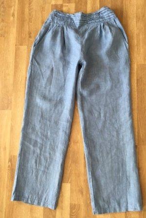Caspar Pantalone di lino azzurro-blu fiordaliso Lino