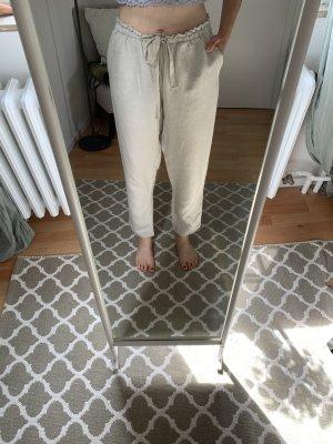 Oysho Pantalón de lino beige claro-camel Lino
