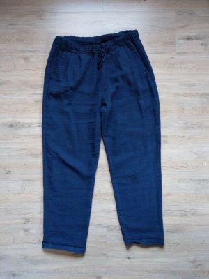 Made in Italy Lniane spodnie ciemnoniebieski