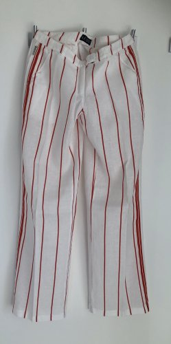 Armani Jeans Pantalon en lin blanc-rouge lin