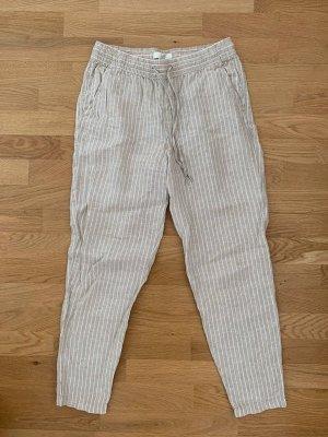 H&M Lniane spodnie beżowy-jasnobeżowy