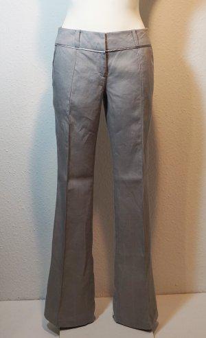 Promod Low-Rise Trousers light grey linen